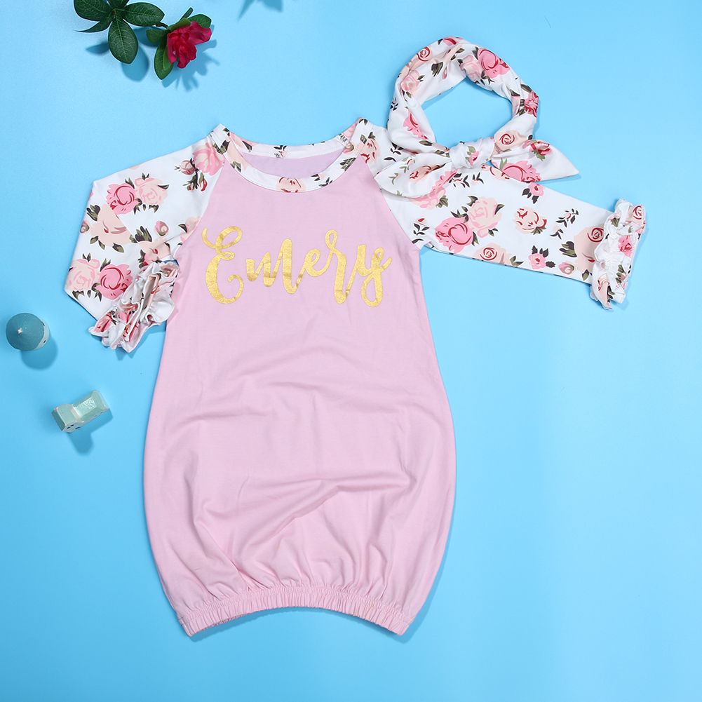 Gentle Toddler Newborn Infant Baby Boys Girls Printed Floral Long Sleeve Sleepwear With Headband Outfits Blanket Sleeper For Baby Boys' Baby Clothing