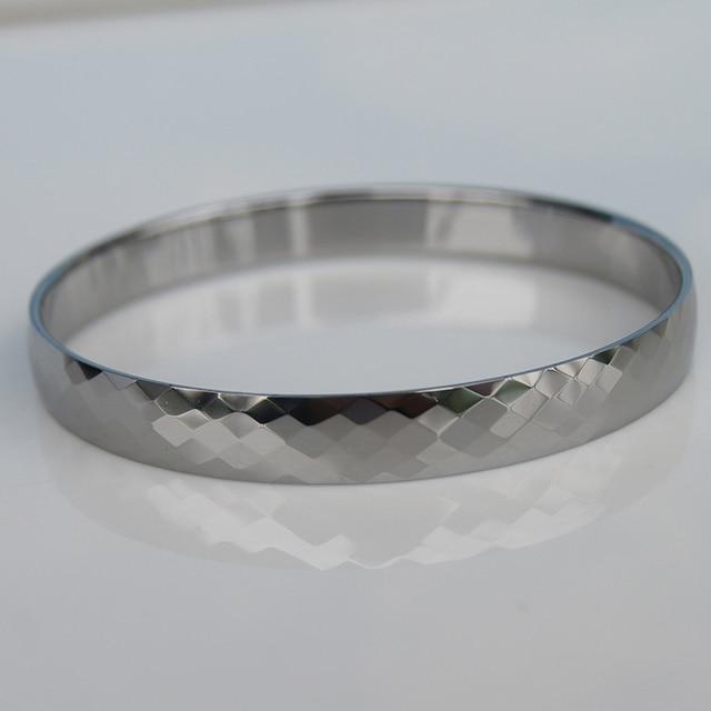 Best Price 8mm width classic facet hi tech tungsten bangle silver tone