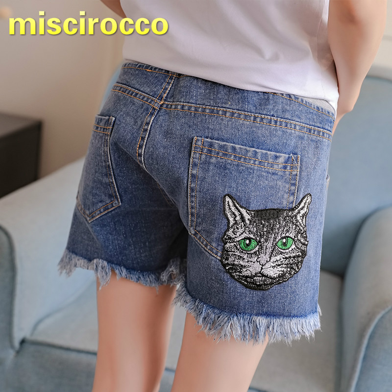 2018 Summer Pregnant Womens Jean Short Pants Cat Embroidered Denim Shorts Womens Low Waist Maternity Short