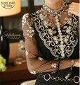 2015 новая Коллекция Весна Сетки кружева Топ женский с длинными рукавами Sheer Женщины блузки Тонкий Элегантный Плюс размер Бисером Цветочные кружева рубашка 980F35
