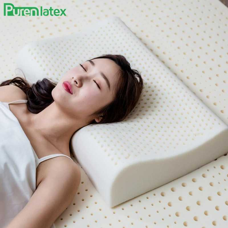 PurenLatex 60x40 Thailand Pure Natural Latex Pillow Health Care Neck for Neck Spine Protective Latex Pillow Orthopedic Pillow