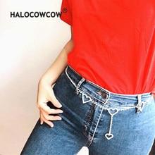 women chain belt vintage metal rhinestone unif omighty flash drill 3 heart  waist unisex men cute 9cc7be20eef3
