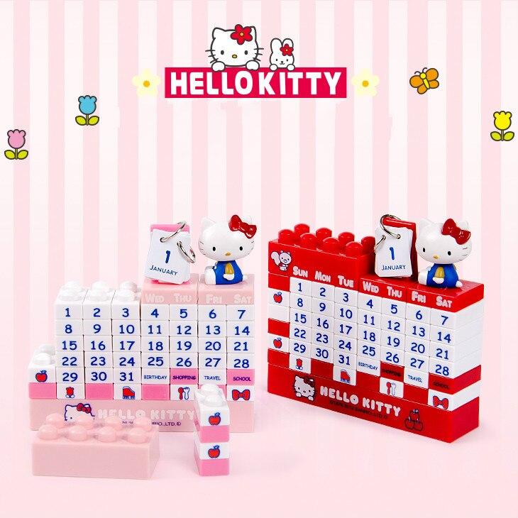 DIY Hello Kitty Calendar 2019 Totoro Jingle Kucing Blok Bangunan Kalendar Bilik Kanak-kanak Aksesori Hiasan Rumah Meja Kalendar