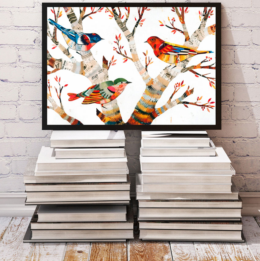 bird Modular pictures illustration poster canvas art Painting oil painting Home Decoration on the Wall for living room no frame
