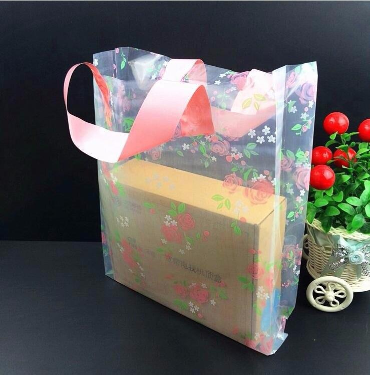 buy large boutique cloth shoes gift packaging bag clear rose plastic. Black Bedroom Furniture Sets. Home Design Ideas