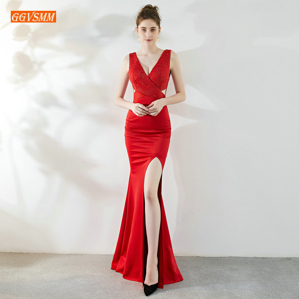 Elegant Mermaid Red   Prom     Dresses   2019 Formal Long   Dress     Prom   V-Neck Elastic Satin Zipper Crystal Side Slit Chic Women Party Gown