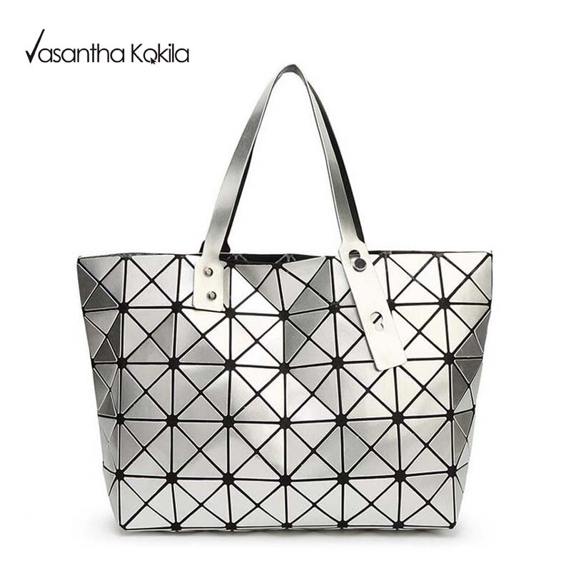 60767613f1d9 2017 Fashion Bao Bao Bag Women Tote Fold summer issey miyak Baobao Hand Bag  Laser Geometric ...