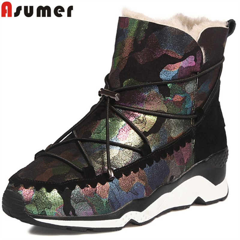 ASUMER fashion hot sale new ankle boots for women round toe wedges winter snow boots keep warm suede leather boots casual shoes women snow boots wedges ankle boots fashion slimming swing shoes plush solid round toe platform shoes lady casual winter boots32