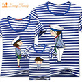 1 Piece Family Matching Clothes Blue Stripe Quality Couple T Shirt Cartoon Female Male 4xl Summer Short Sleeves Dad Mom T-Shirts