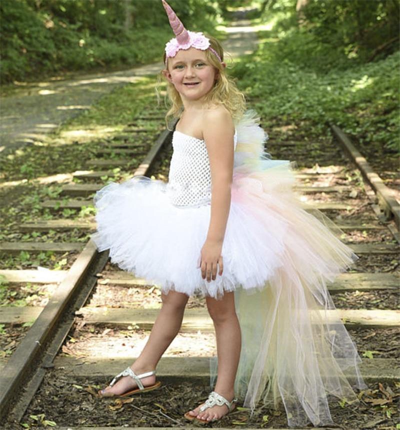 Filles arc-en-ciel licorne Tutu robe douce traînant princesse robe avec bandeau enfants fête d'anniversaire poney Hallowwen Cosplay Costumes