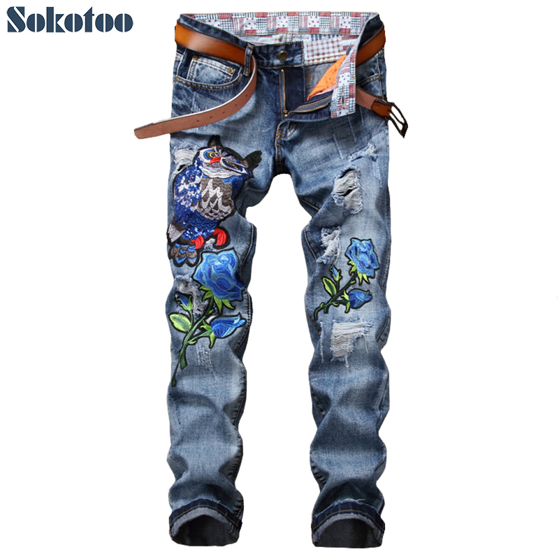 Sokotoo Men's Owl Blue Rose Embroidery Denim Jeans Casual Holes Ripped Distressed Torn Embroidered Pants