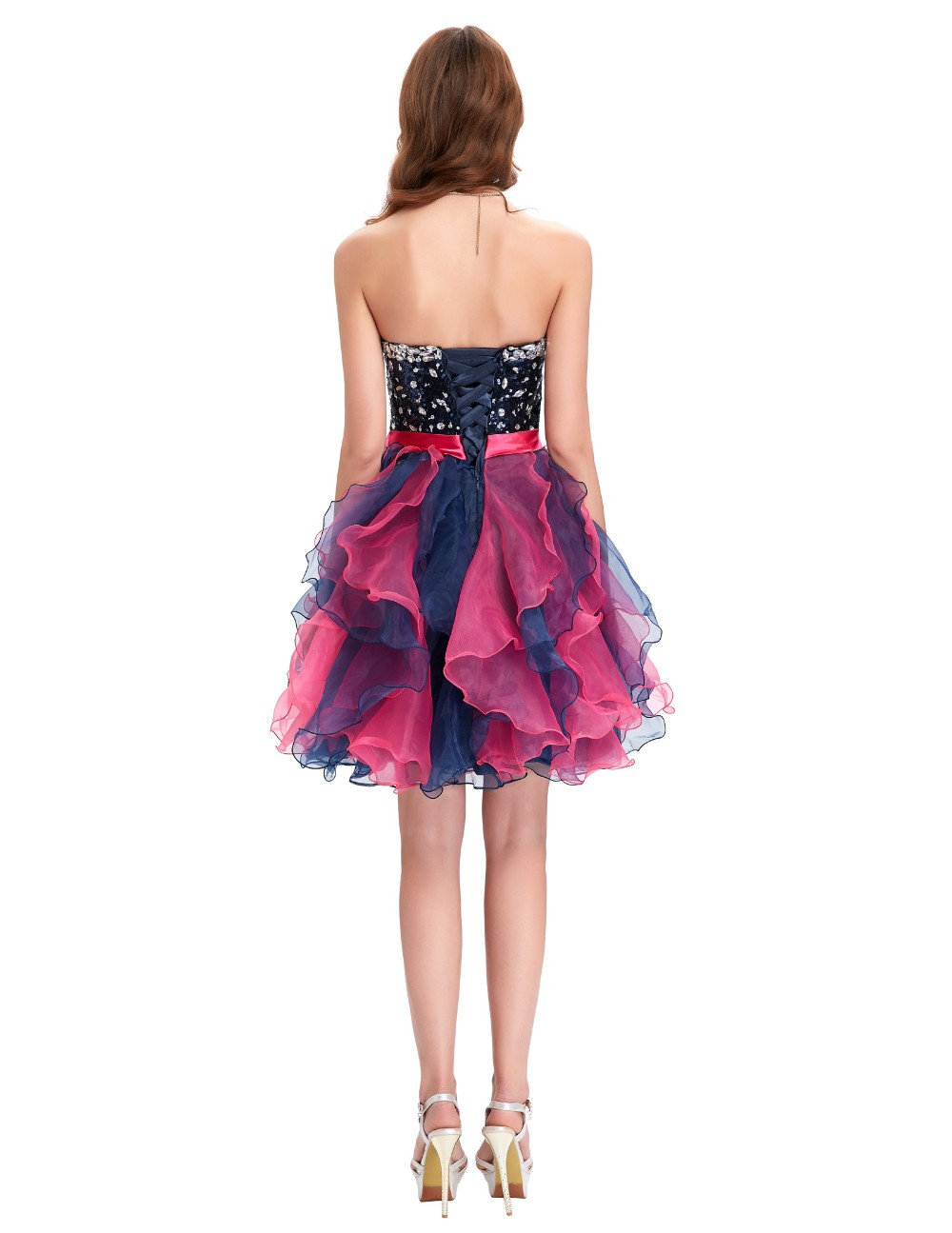 Grace Karin Short Prom Dress Ball Gown Robe De Cocktail Colorful Sequin Organza Prom Gowns Sexy Party Special Occasion Dress 11