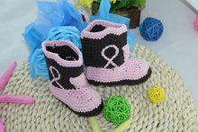 46ff561cb الشحن مجانا ، لطيف اليدوية حك الكروشيه الطفل كاوبوي أحذية الوليد صور  الدعامة جديد-الوردي