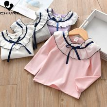Chivry Spring Autumn 2019 New Little Girls Long Sleeve O-Neck Solid T-Shirts Baby Kids Fashion Casual Children Clothing