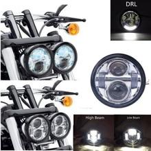 One Pair LED Motorcycle Lights 5″ H/1770LM L/1335LM 40W/30W 6000K  for Harley Davidson Dyna Glide Fat Bob