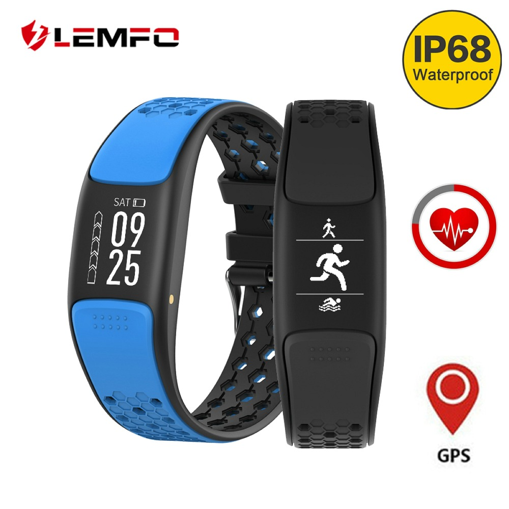 LEMFO HD OLED Display Smart Sport Fitness Bracelet IP68 Waterproof Support Swimming GPS Activity Tracker Heart Rate Monitoring