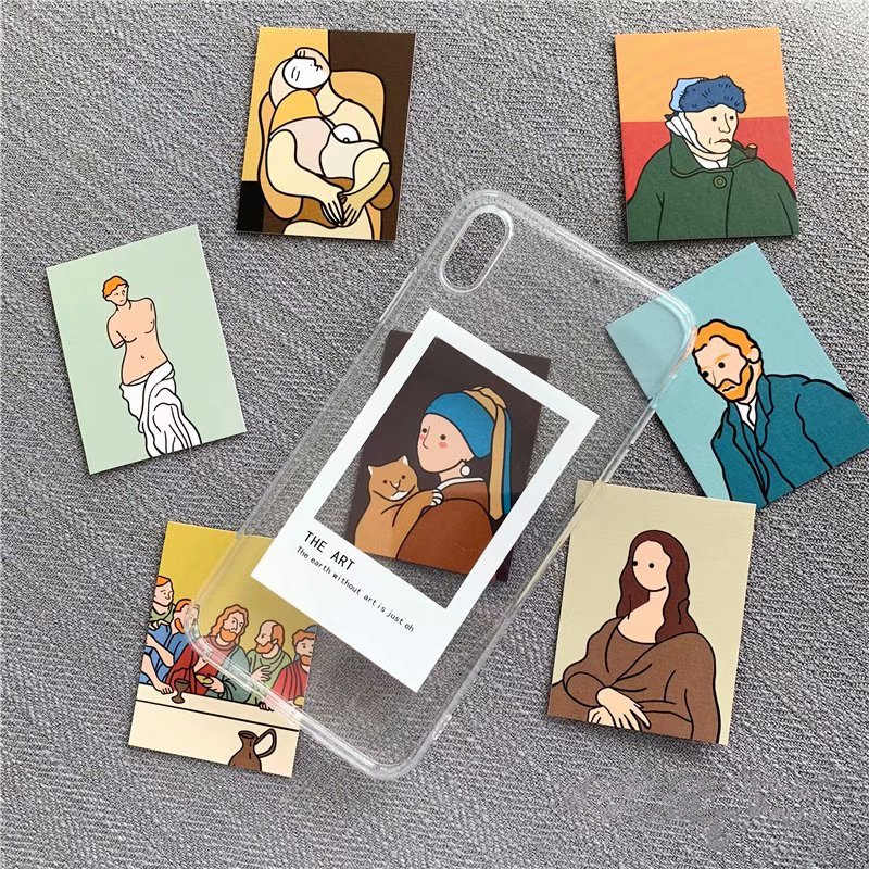Pintura a óleo cartão claro Casos de telefone TPU Para iphone XS Max X XR XS para iphone 6 6s 7 8 plus Photo frame tampa traseira do caso