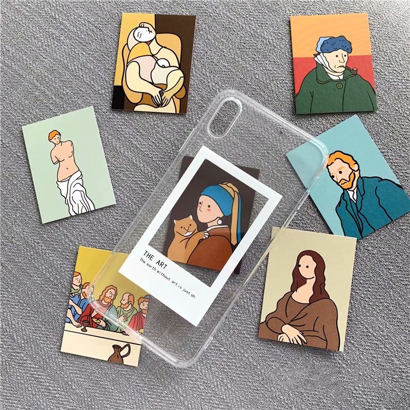 Oil painting card clear TPU phone Cases For iphone XS Max X XR XS for iphone 6 6s 7 8 plus Photo frame case back cover couples blanket