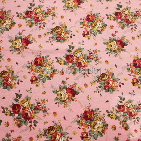 Tilda Home Decor Material Vintage Rose Flowers Print Cotton Linen Textiles Dress Fabric Tecido Pink Blue