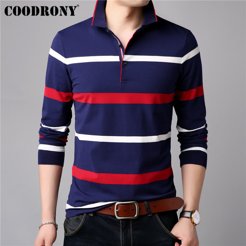 COODRONY Long Sleeve T Shirt Men Streetwear Tshirt Soft Cotton Tee Homme Striped Casual Turn-down Collar T-Shirt 95011