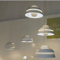 Nordic modern minimalist semi circular white aluminum paint single head pendant lamp E27 restaurant decorative lighting lamp