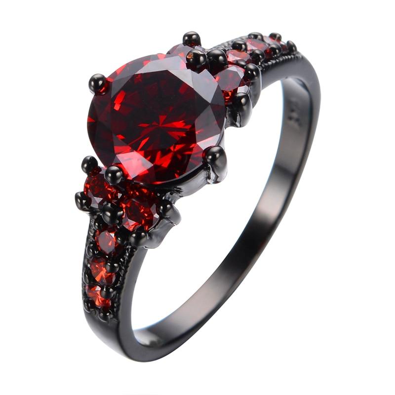 Prix pour New Vintage Rouge Grenat Noir Or rempli Anneau Rouge Femmes De Mariage Bijoux Anel Anéis Fiançailles Promise Anneaux BIjoux Femme RB0005