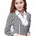 Fashion Women Shirt Chiffon Blusas spring Femininas Tops Vertical Striped Elegant Ladies Formal Office Blouse Plus Size s-6xl
