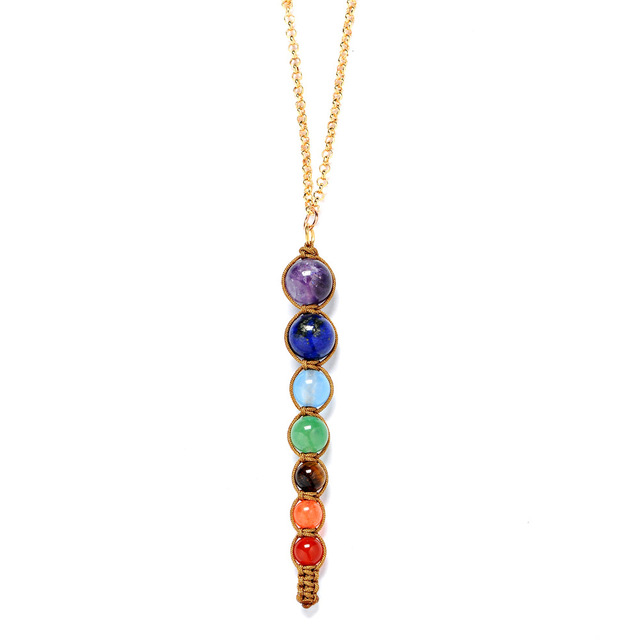 Natural stone lava 7 chakra reiki healing balance necklace women men natural stone lava 7 chakra reiki healing balance necklace women men jewelry energy power yoga beaded mozeypictures Image collections