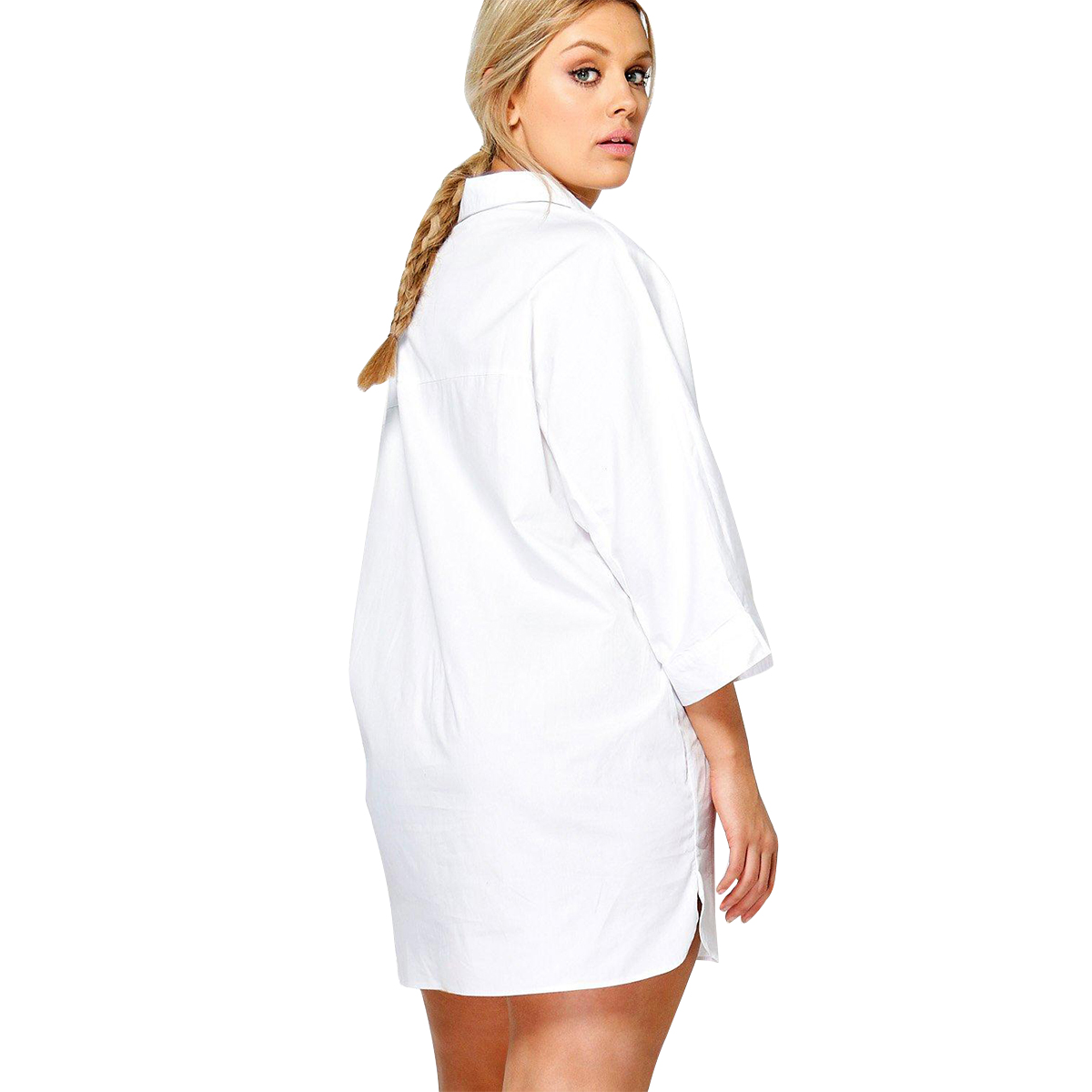 Kissmilk Women Plus Size Foral Embroidery Turn Down Collar Shirt Nine Quarter Sleeve Solid Basic Shirt Large Size Casual Shirt 1