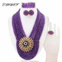 Beautiful Nigerian Beads Crystal Necklaces Bracelet Earrings African Wedding Beads Jewelry Set HD2871