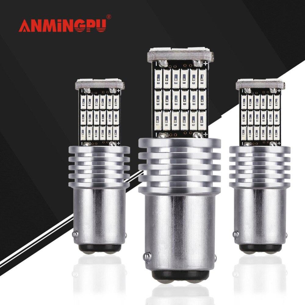 Anmingpu 2x carro conduziu a lâmpada de sinal p21/5 w led 1157 bay15d lâmpadas erro livre 45 led smd 4014 cauda sinal freio parar luz reversa vermelho