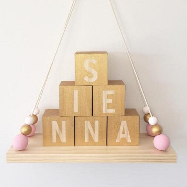 INS Cute Kids Baby Nordic Style Decorative Wall Shelf Wooden Pearl ...