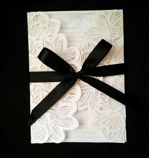 white and black ribbon hollowed flower laser cut wedding invitations card paper sleeves with envelope party