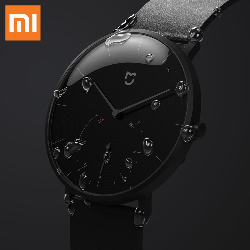 XIAOMI Mi Mijia QUARTZ Smart Watch Life Waterproof with Double Dials Alarm Sport Sensor Pedometer Time Leather Band Mi Home APP image