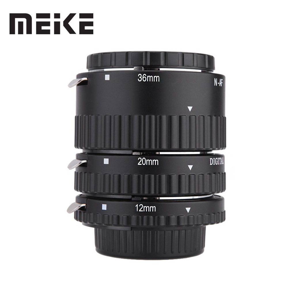 Meike Auto Focus Macro Extension Tube Set Ring N-AF1-B for Nikon D7100 D7000 D5100 D5300 D3100 D800 D600 D300s D300 D90 D80 цены
