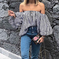 AZULINA Off Shoulder Striped Women Blouse Shirt Sexy Cut Out Lantern Sleeve Necklace 2017 Summer Casual Cool Blouse Blusas Tops