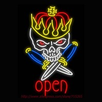Royal Skull Tattoo Neon Sign Light Neon Bulbs Custom Neon Signs LOGO Real Glass Tube Recreation