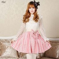 Lolita Sweet Princess Dress Lace Skirts Womens Original Design Pink Cute Rabbit Crown Print Cute Pleated Short Skirts