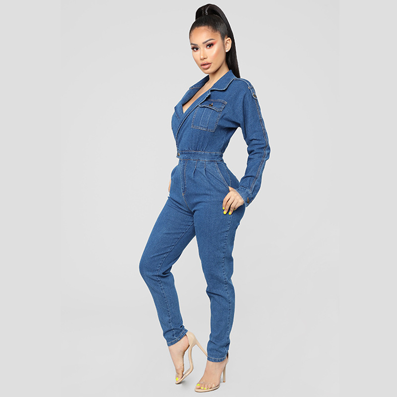 2019 Women Denim Jumpsuit Ladies Long Sleeve Jeans Rompers Female Casual Plus Size Denim Overall Playsuit With Pocket