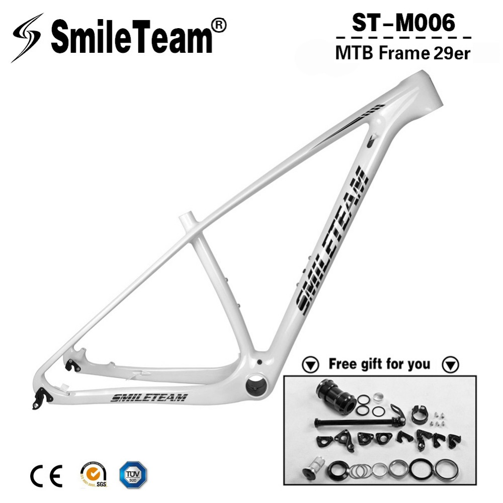 SmileTeam 29er Carbon MTB Frame 142*12mm Thru Axle Carbon Mountain Bike Frame UD Glossy 135*9mm QR Bicycle Frameset White Frame smileteam new carbon mtb frame 27 5er mountain bicycle frameset 650b 135 9mm carbon frame ud matte or glossy frame headset clamp
