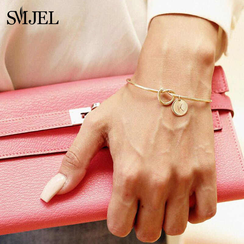 SMJEL Personalized Knot Initial Bracelets Bangles A-Z 26 Letters Initial Charm Bracelet Love Bangles for Women Jewelry Pulseiras