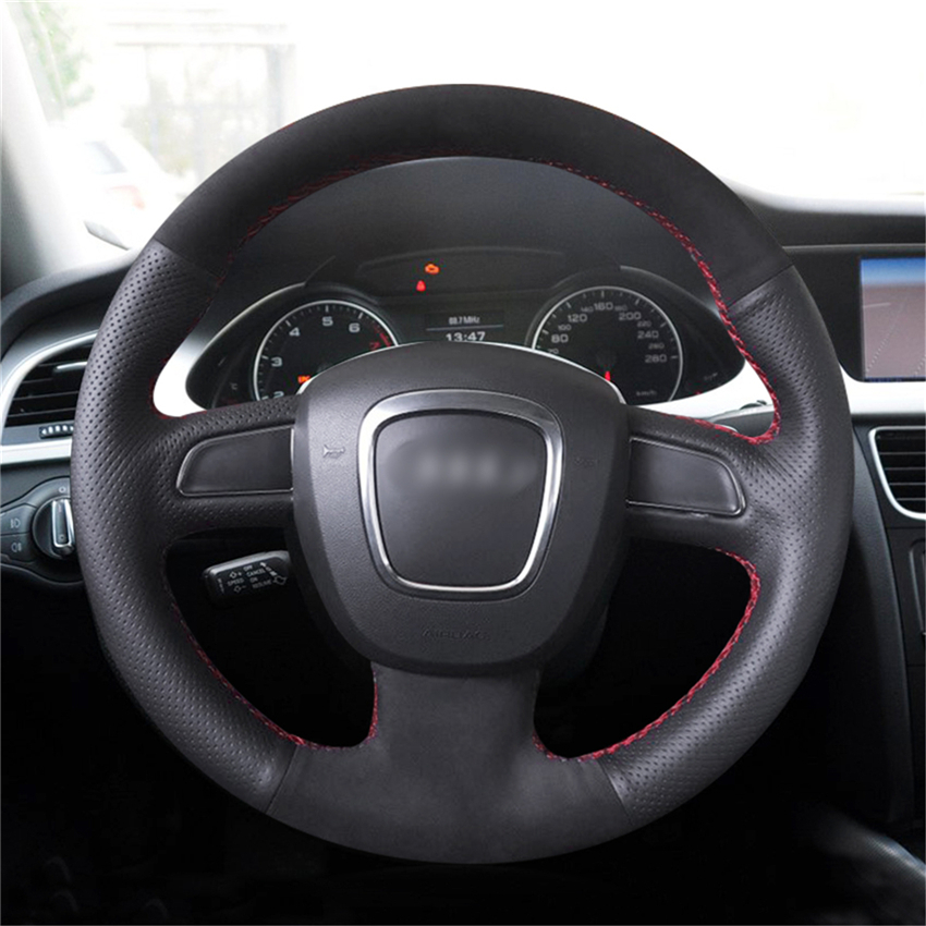 Mewant Black Genuine Leather Steering Wheel Cover For Audi A3 8p