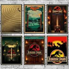 Cartazes de filme do parque jurássico boa qualidade pintura retroposter papel kraft para a decoração da parede da barra casa/adesivos