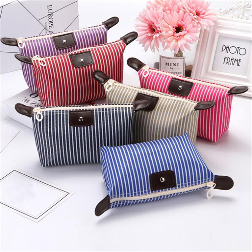Dumpling Travel Makeup Bag Organizer Stripe Women Cosmetic Bag Toiletry Pouch Portable Korean Version Make Up Female Wash Bag