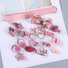 1 Set = 18 PCS Barrettes Baby Fabric Bow Flower Headwear Hair clips Girls Headdress New Kids Children Accessories Hairpins 2 pcs 1 pair children baby girls hair accessories clip girls hairpins barrettes headwear flower hairpin phr0521