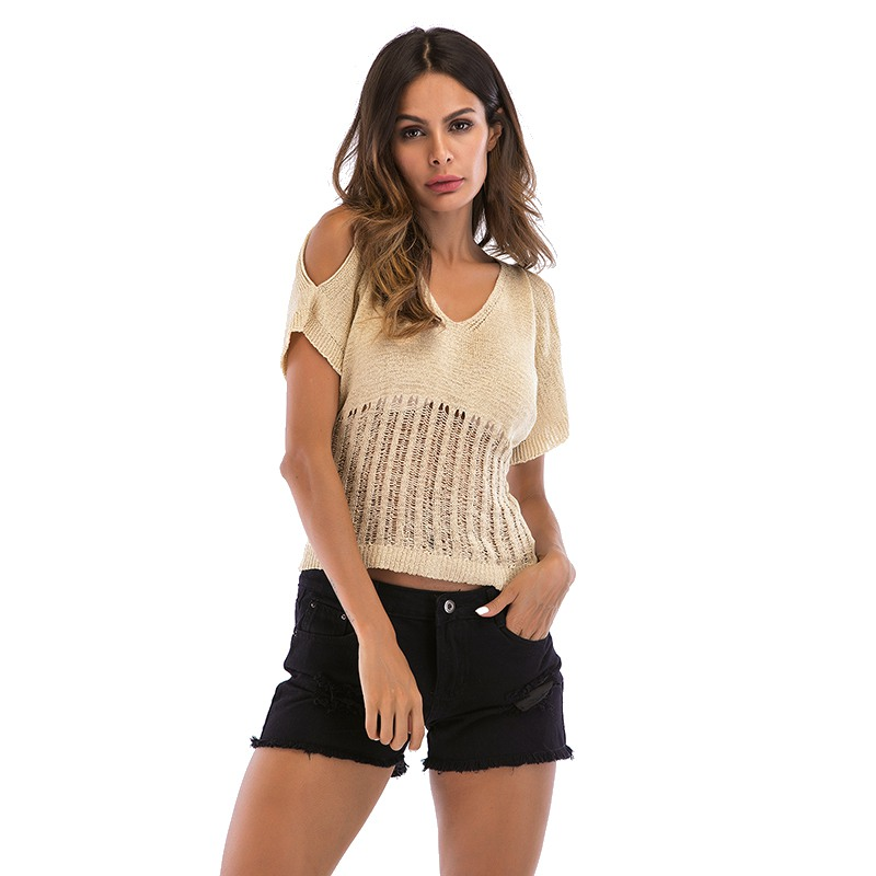 Women Casual Loose T-shirt Cold Shoulder T- Shirts Knit Hollow Out T Shirts Summer Short Sleeve Solid Short Top