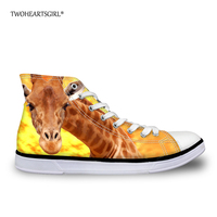 Twoheartsgirl Cool Printed Giraffe High Top Canvas Shoes Casual College Student Women Vulcanized Shoes Classic Street Flat Shoes