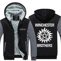 Dropshipping USA 2016 Supernatural Winchester brothers Hoodie Jackets Coats fashion Hooded Thicken Zipper Men's Sweatshirts