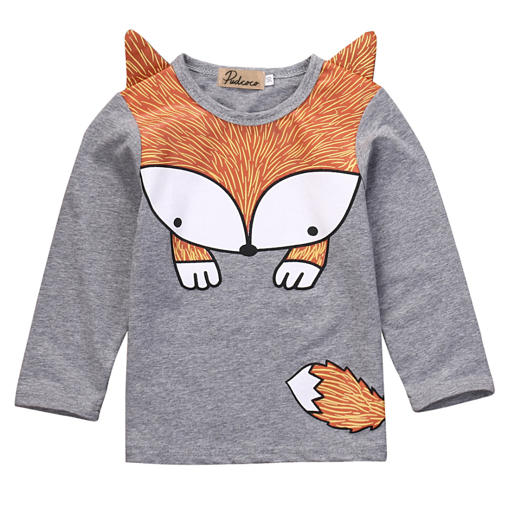 Newborn Baby Girls Boys Fashion Loose Grey Cotton Cartoon Long Sleeve Fox T-Shirt