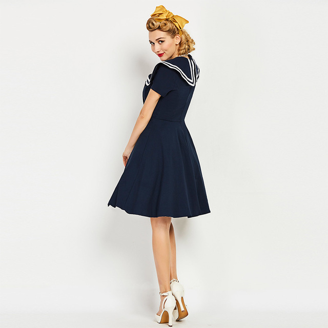 Sisjuly women vintage dress 1950s nautical style summer retro dark blue dress cotton sailor collar button vintage elegant dress